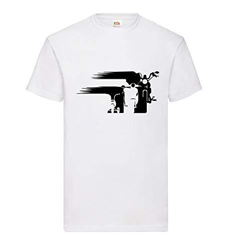 Motorrad Chopper Evolution Schweif Front Männer T-Shirt Weiß 3XL - shirt84.de