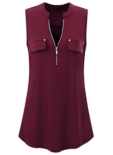 Amrto Damen V-Ausschnitt Shirts Ärmellose T Shirt Casual Bluse mit Reißverschluss Tunika Tank Tops, Wein XXXL