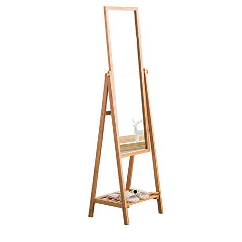 xfy-01 YXF-Houten kapstok Houten kapstok Rack, Lange Spiegel Bamboo Arts Opslagracks Slaapkamer Multifunctionele Vloerstaande Dressing Mirror YXF-@@