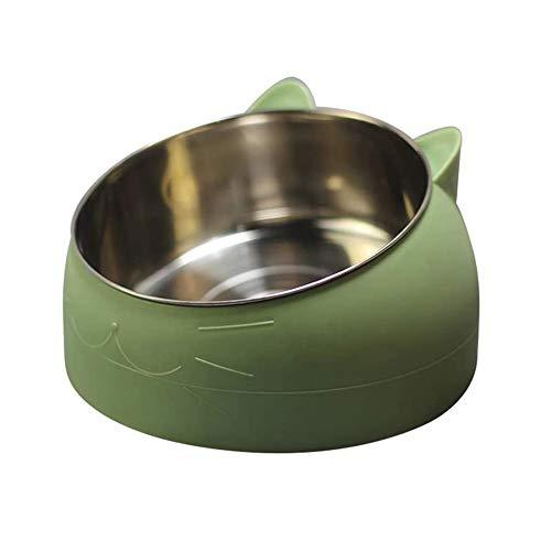 d.Stil Ciotola per Cibo Gatto Cani in Acciaio Inossidabile con Gomma Antiscivolo Base Pet Acqua Ciotola Gatto per Inclinazione di 15 Gradi(Verde, 1L)
