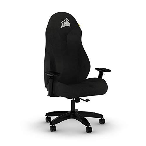 Corsair TC60 Fabric Gaming-Stuhl (Entspannte Passung, Atmungsaktiver Weicher Stoffbezug, Integrierte Lendenstütze aus Schaumstoff, Vielseitig Verstellbare Armlehnen, Leicht zu Montieren), Schwarz