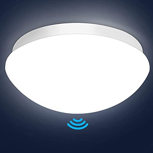 LED Deckenleuchte mit Bewegungsmelder Einstellbar, Oraymin E27 LED Deckenleuchte Lampenschirm mit Bewegungsmelder, IP44 LED Feuchtraumleuchte Lampenschirm Maximaler Anschluss von 60W Lampen, ø27.5cm