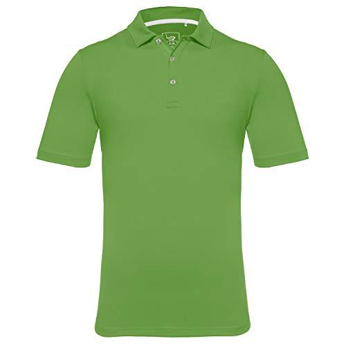EAGEGOF Slim Fit Men's Performance Polo Shirt Stretch Tech Golf Shirt Short Sleeve (Kelly, L)