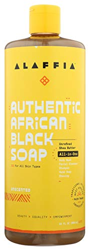 Alaffia Authentic African Black Soap All-in-One, Unscented, 32 Oz. Body Wash, Facial Cleanser, Shampoo, Shaving, Hand Soap. Perfect for All Skin Types. Fair Trade, No Parabens, Cruelty Free, Vegan