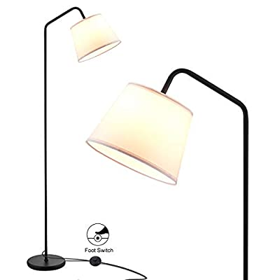 Arc Floor Lamp, LED Floor Lamp with Hanging White Lamp Shade, Modern Standing Lamp with Foot Switch, E26 Lamp Base, Corner Lamps Tall Pole Light for Office Bedroom Living Room Reading