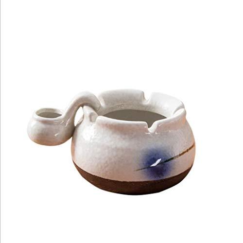 Xywh Cenicero del hogar Pintado a Mano Azul y Blanco de cerámica...