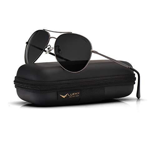 Aviator Sunglasses for Men Women Polarized-uv 400 with case 59mm by LUENX(Grey)