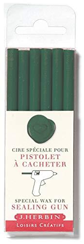 J. Herbin 35812t de cera, caja con 6asas Hobby para pistola, blanda, color turquesa, color verde oscuro