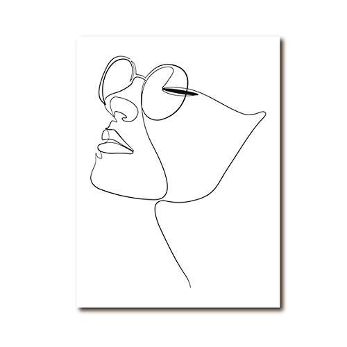 Pintura en lienzo Mujer Cara Figura Dibujo de una línea Imagen artística Arte abstracto de la pared Impresión de la cara Cartel minimalista del bosquejo, para la decoración del hogar de la sala de est