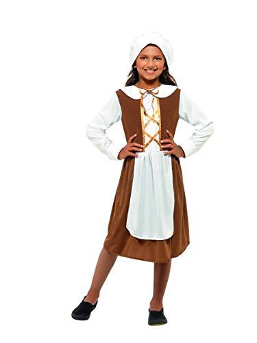 Fancy Me Mädchen Poor Tudor Dienstmagd historisch büchertag Kostüm Kleid Outfit 4-12 Jahre - Braun, 10-12 Years