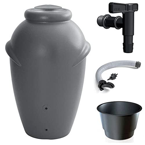 Primegarden 210 Liter Aqua CAN Regenamphore Regentonne Regenwassertank Regenwassertonne Wasserspeicher mit Wasserhahn und Verbindung (Grau)