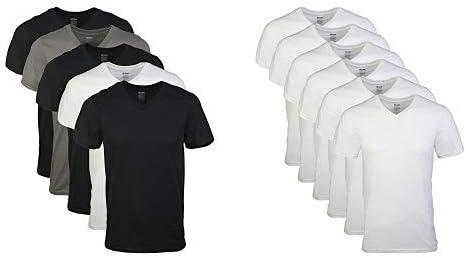 Gildan Men's V-Neck T-Shirts 5 Pack, Multi, Large Men's V-Neck T-Shirts 6 Pack, White, Large