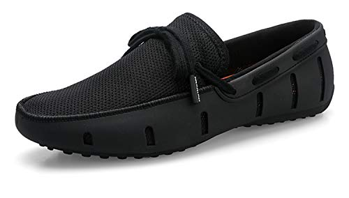 Go Tour Men's Fashion Casual Boat Shoes Breathable Slip on Shoes Black 44