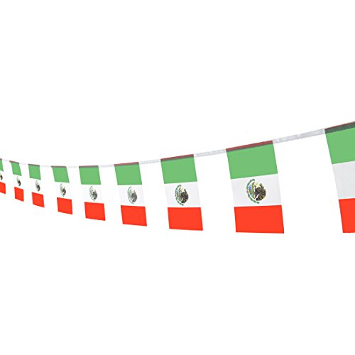Kind Girl Mexico Flag Mexican Flag,100Feet/76Pcs National Country World Pennant Flags Banner,Party Decorations Supplies for Olympics,Indoor and Outdoor Flags,Sports Events,International Festival