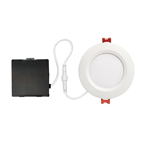 Globe Electric 91254 4' Designer Series Ambient Dimming Integrated LED Recessed Lighting Kit, 9 Watts, Energy Star, IC, Ultra Slim Profile, Wet Rated, Round Trim, White Finish, 4.25' Hole Size, 4'