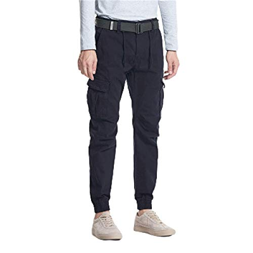 Huntrly Men's Pants All Waist Size Thickening Multi-Pocket Casual Pants Hiking 34 Dark Blue