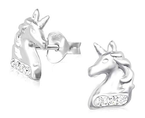 Laimons Pendientes infantiles para niñas, joyas para niños, unicornio, criaturas míticas, blanco brillante, de plata de ley 925
