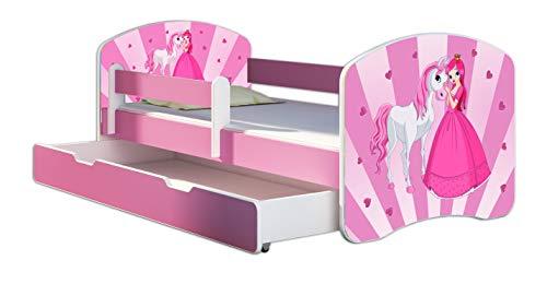Kinderbett Jugendbett mit einer Schublade und Matratze Rausfallschutz Rosa 70 x 140 80 x 160 80 x 180 ACMA II (08 Princess, 70 x 140 cm + Bettkasten)