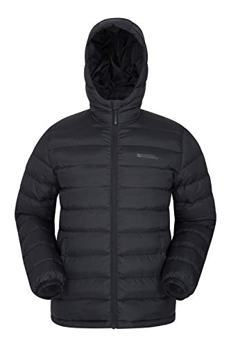 Mountain Warehouse Seasons Mens Winter Puffer Jacket -Water Resistant Padded Coat Black XX-Large