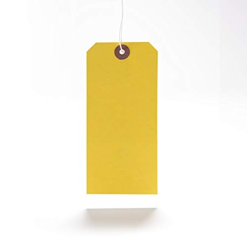 100 x Yellow Coloured Strung Tags 120mm x 60mm Luggage Labels Tie On Price Gift Craft Clothes