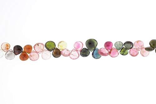 Shree_Narayani Cuentas sueltas de turmalina de calidad AAA, 8 mm facetado corazón gotas Briolettes 8 pulgadas para hacer joyas, collares, pulseras, pendientes, manualidades, 1 hebra