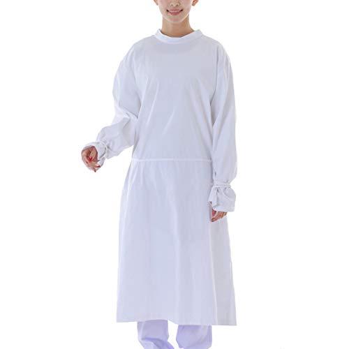 Jubang OP-Kleider, Isolationskittel mit langen Ärmeln, hohe Temperaturbeständigkeit, Schutzanzug mit Riemen, Krankenschwester-Uniform für Chemikalien und Medizin, L, weiß, 1