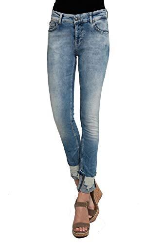 Zhrill Damen Mom Jeans Tapered Cropped 5 Pocket Vintage Slim Fit Nova, Farbe:W7390 - Blue, Größe:W30 / L30