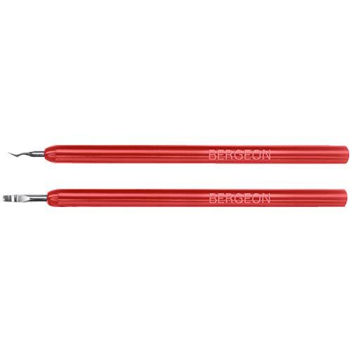 BERGEON 5430 Spiralrollenabheber – Satz: 2 Stück – Fein polierte Hebel aus Stahl mit roten Kunststoffgriffen – Geeignet zur schonenden Zeiger-Demontage – UHRMACHER-Spezialwerkzeug – 4263133