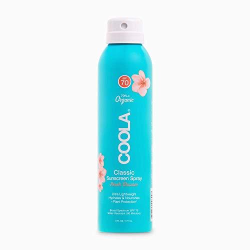 COOLA Organic Sunscreen & Sunblock Spray, Skin Care for Daily Protection, Broad Spectrum SPF 70, Peach Blossom, 6 Fl Oz