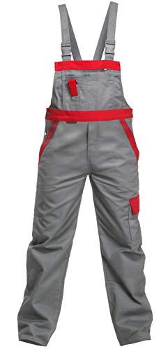 Charlie Barato L13704/56 Arbeitshose Sweat Life Latzhose für Handwerker, Grau/rot, 56