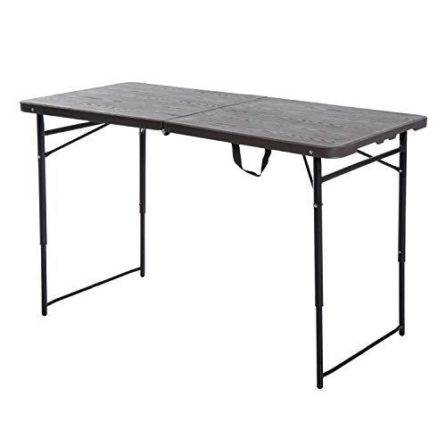 Outsunny Klapptisch, Faltbarer Campingtisch, Höhenverstellbarer Falttisch, Picknicktisch, Metall, Kaffee, 122 x 61 x 53/71,5 cm