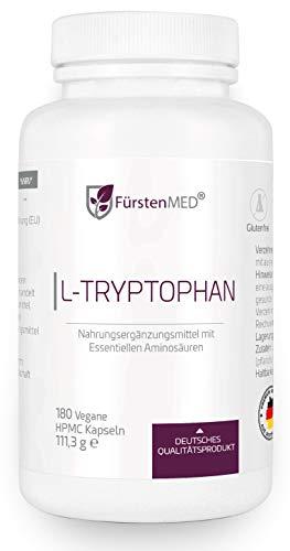 FürstenMED® L-Tryptophan Kapseln - Hochdosiert 500mg Reines L Tryptophan - 180 Vegane Kapseln aus Deutschland Ohne Zusatzstoffe
