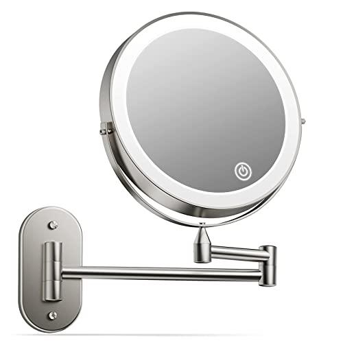alvorog Kosmetikspiegel LED Beleuchtet mit 1x/5x Fache Vergrößerung Touchscreen Rasierspiegel Wandspiegel 360°Schwenkbar Schminkspiegel für Badezimmer Kosmetikstudio Zuhause