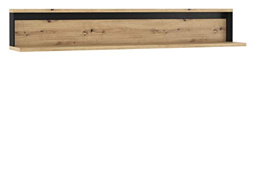 Mirjan24 Wandregal 155 Quant QA-05, Buchregal, Wandboard, Hängeregal Regal, Media-Regal, Wandschrank, Arbeitszimmer, Wohnzimmer, Naturtöne (Eiche Artisan/Eiche Artisan + Schwarz)