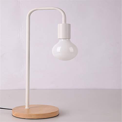 TATANE Tafellamp Retro Style, koperen metalen tafellamp met houten voet, geschikt voor Studio, lezen (kleur 5 om uit te kiezen), wit