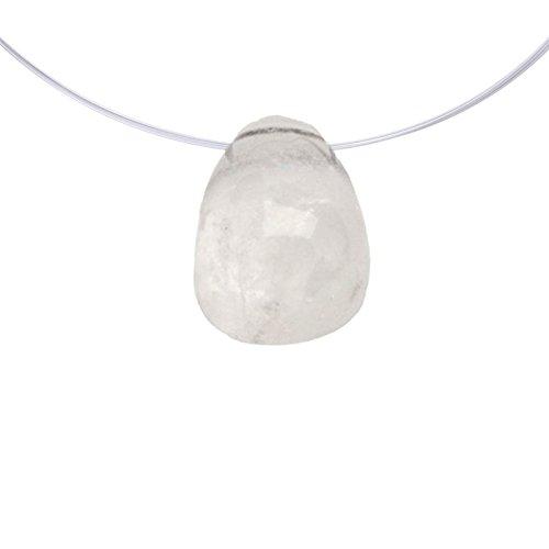 Mysale24 bergkristal | edel- en helende steen | trommelsteen | geboord | met lederen band | druppelvorm | natuurlijk product | uit Brazilië