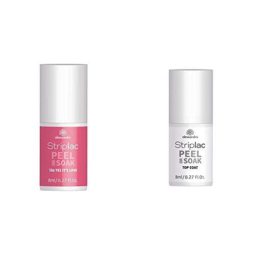 alessandro Striplac Peel or Soak Yes it´s love – LED-Nagellack in Rot-Rosa – 8ml & Striplac Peel or Soak Top Coat – LED-Überlack für eine perfekt glänzende Farblackierung – 1 x 8ml