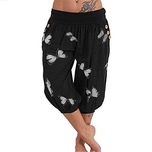 Pantalones Cortos De Verano para Mujer Pantalones Casuales Sueltos De Cintura Media