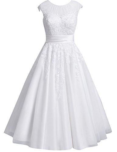 Brautkleider Kurz Spitze Tüll A-Linie Hochzeitskleider Standesamt Kleider Damen Rundhals Schlitz Wadenlang Schlicht Weiß 38