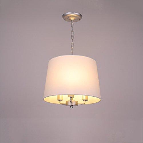 3-Light Large Drum Lustre-Tissu Aluminium Blanc Plafonnier Lampe-In Pendant Light By Home Concept Parfait pour la maison, le restaurant, l'appartement, la villa