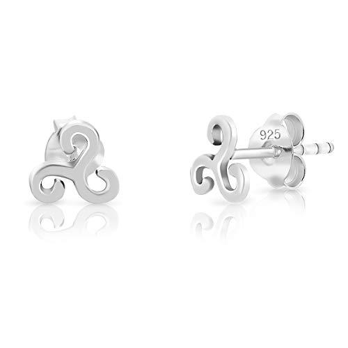 DTPsilver - Damen - Ohrringe 925 Sterling Silber - Keltisch Triskele - Ohrstecker