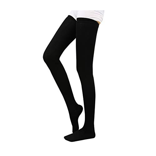 KOUTEI 超ロング オーバーニーソックス コットン 美脚 着圧 太もも以上 90cm 柔らか ニーハイ ストッキング ロングソックス 靴下 (黒)