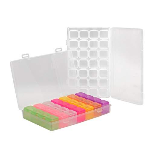 Beaupretty 28 grilles en plastique artisanat organisateur cas nail art titulaire boîte de rangement idéal pour coudre perles de diamant