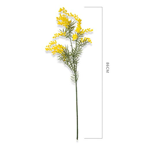 wwwl Flores Artificiales 86cm 3 Ramas Artificial Acacia Yellow Mimosa Spray Fake Silk Flower Wedding Party Event Decor Red Bean Plant For X'Mas