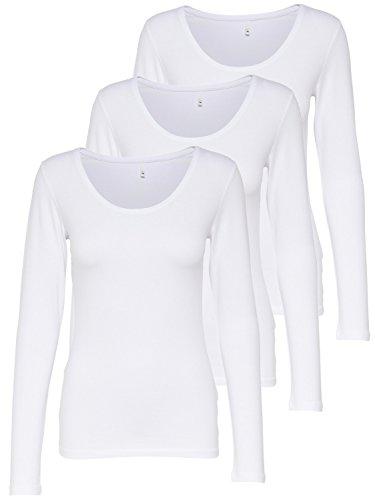 ONLY 3er Pack Damen Langarmshirt schwarz und weiß Langarm Basic Longsleeve Sommer aus 95% Baumwolle XS S M L XL 15209156 (3er Pack weiß, XL)