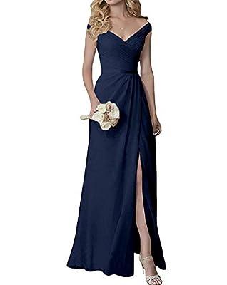 Yilis Elegant V-Neck Chiffon Slit Long Bridesmaid Dress Wedding Evening Dress Navy Blue US2