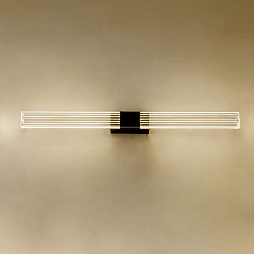 HMAKGG Lámpara de Espejo LED para Baño, 4000K Resistente al Agua IP44, Luz Blanca Neutra, Lámpara de Baño Latón, Lámpara de Maquillaje, Aplique Espejo Baño Led Armario,Negro,6W/55CM