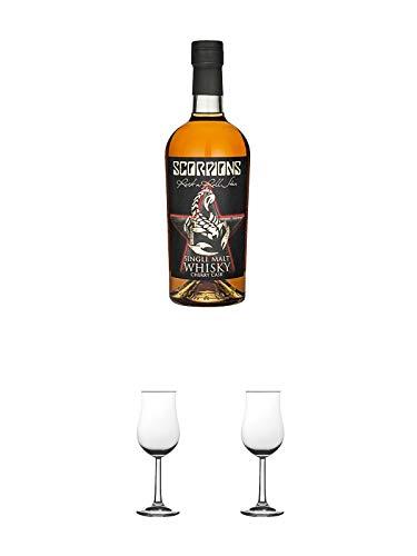 Scorpions Rock n Roll Star Cherry Cask Whisky 0,7 Liter + Nosing Gläser Kelchglas Bugatti mit Eichstrich 2cl und 4cl 1 Stück + Nosing Gläser Kelchglas Bugatti mit Eichstrich 2cl und 4cl 1 Stück