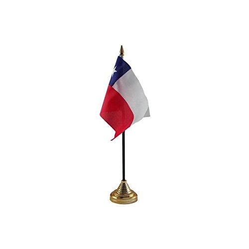 3 Stück, Chile, Chilenische Desktop Table Kopf Flagge Fahnen mit Gold Böden Ideal für Das Büro, Für Konferenzen Display