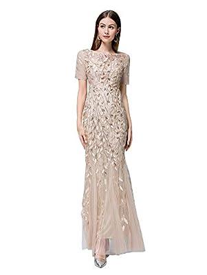 Women's Short Sleeves Lace Bridesmaid Dress for Wedding Golden, Medium